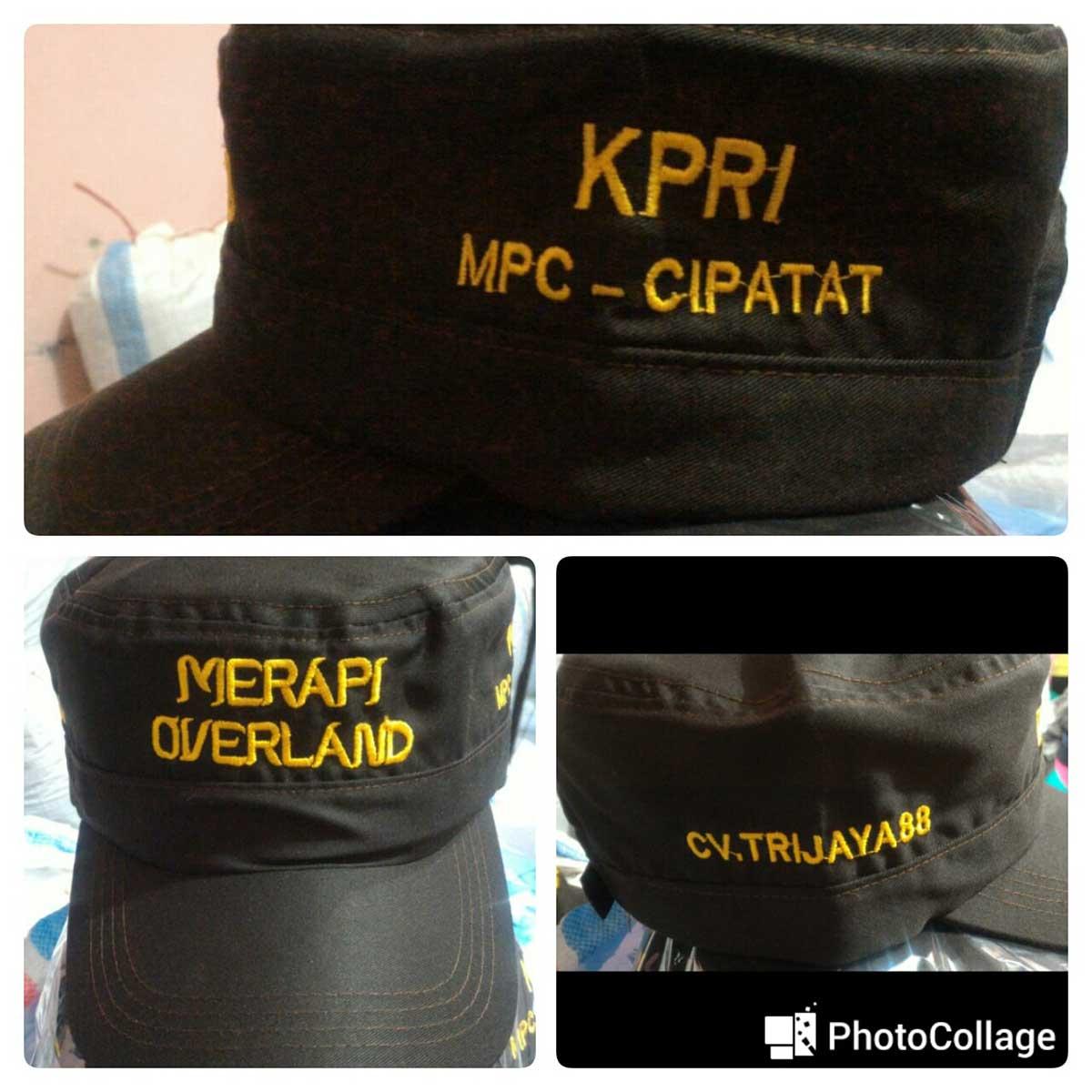 topi tulisan custom